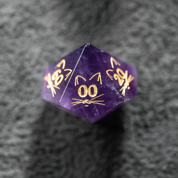 URWizards Dnd Engraved Amethyst Dice Set Meow Style - Urwizards