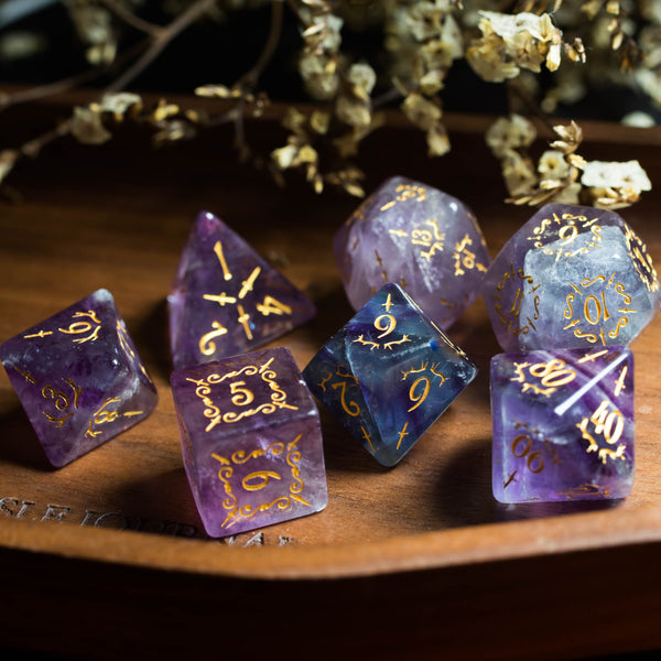 URWizards Dnd Purple Fluorite Gemstone Engraved Dice Set Dagger Rogue Style - Urwizards