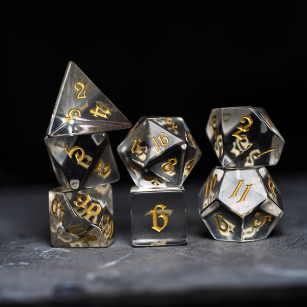 URWizards Dnd Zircon Glass Gemstone Engraved Dice Set Magical Style - Urwizards