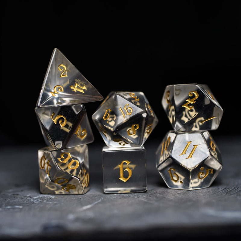 URWizards Dnd Glass Gemstone Engraved Dice Set Magical Style - Urwizards