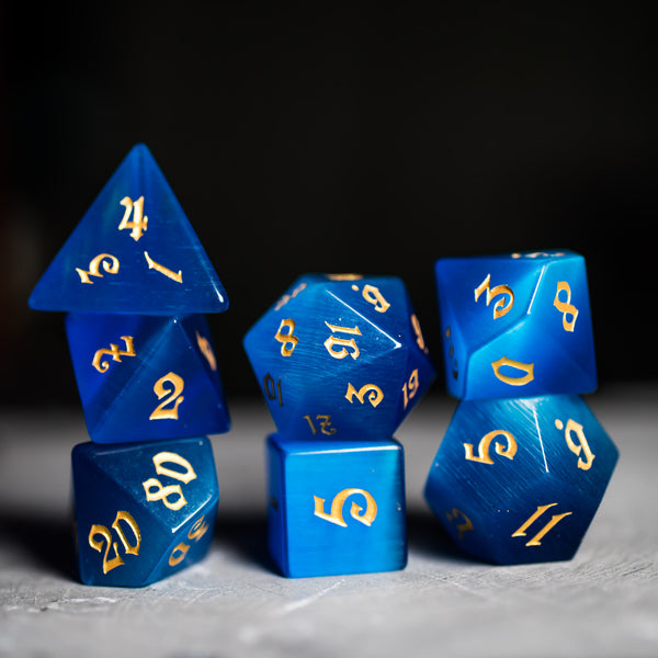URWizards Dnd Blue Cat's Eye Gemstone Engraved Dice Set Magical Style - Urwizards