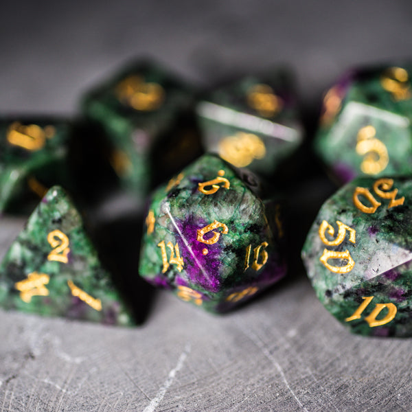 URWizards Dnd Ruby in Zoisite Gemstone Engraved Dice Set Magical Style - Urwizards