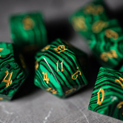 URWizards Dnd Malachite Gemstone Engraved Dice Set Magical Style - Urwizards