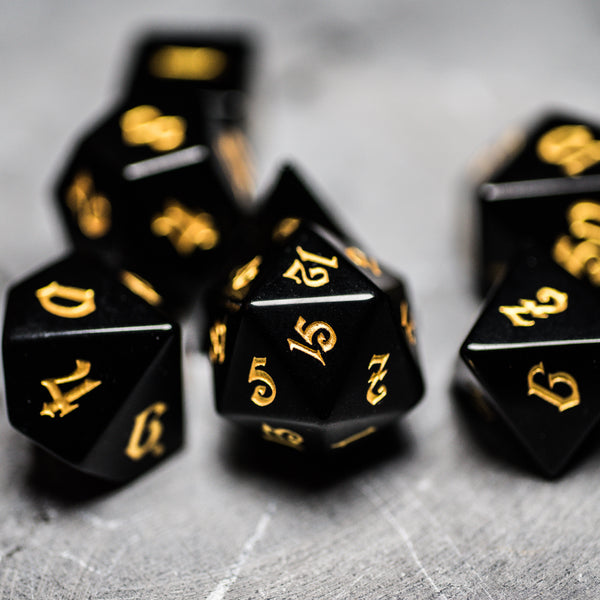 URWizards Dnd Obsidian Gemstone Engraved Dice Set Magical Style - Urwizards