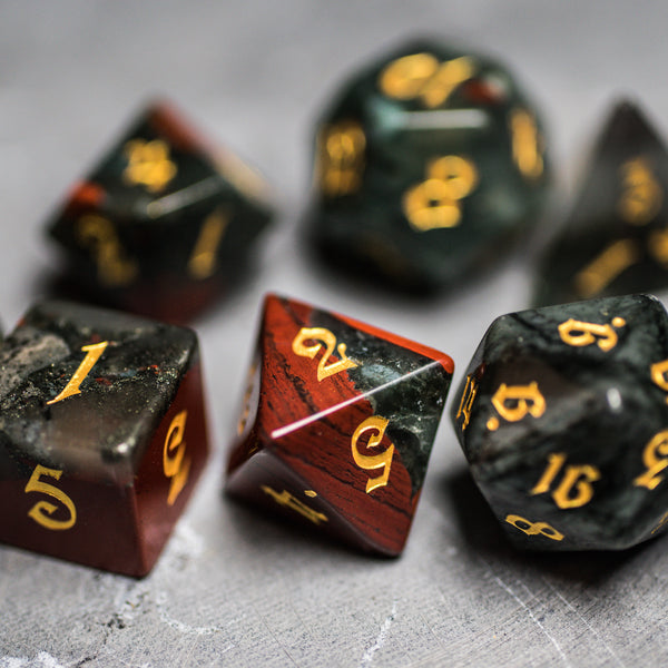 URWizards Dnd Bloodstone Gemstone Engraved Dice Set Magical Style - Urwizards