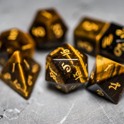 URWizards Dnd Tiger's Eye Gemstone Engraved Dice Set Magical Style - Urwizards