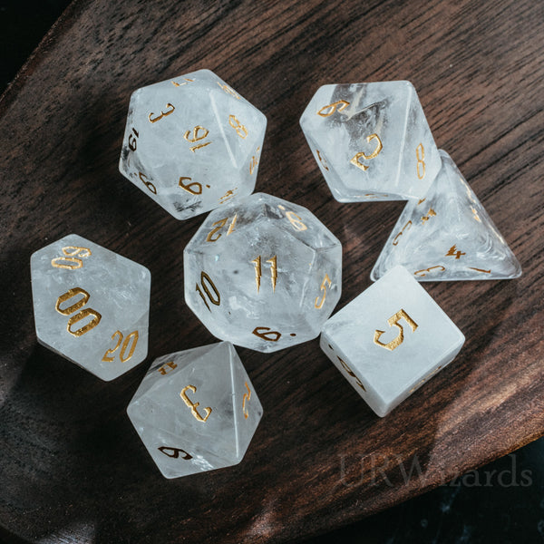 URWizards Dnd Clear Quartz Engraved Dice Set Wizard lightning Style - Urwizards