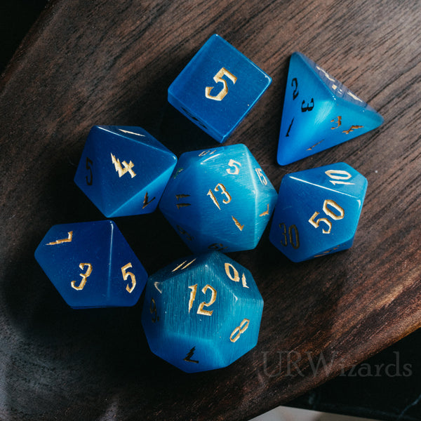 URWizards Dnd Blue Cat's Eye Engraved Dice Set Wizard lightning Style - Urwizards