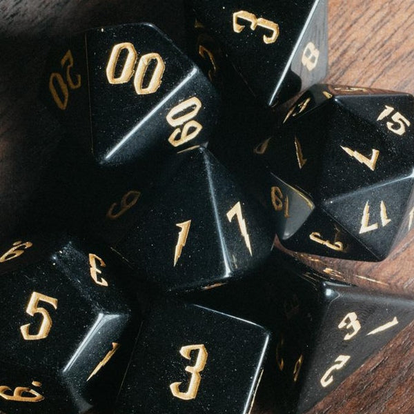 URWizards Dnd Obsidian Engraved Dice Set Wizard lightning Style - Urwizards