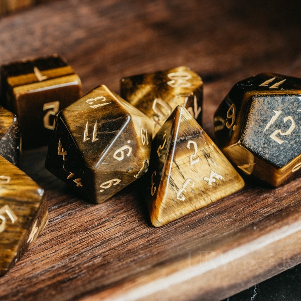 URWizards Dnd Tiger's Eye Engraved Dice Set Wizard lightning Style - Urwizards