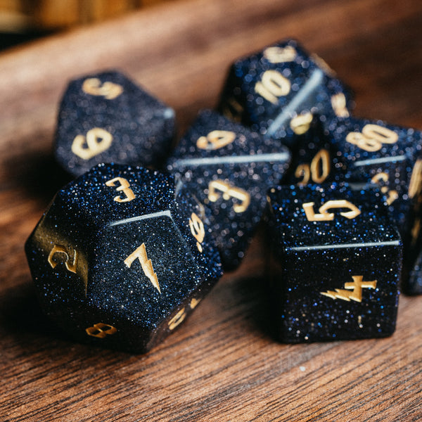 URWizards Dnd Blue Sandstone Engraved Dice Set Wizard lightning Style - Urwizards