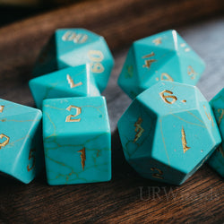 URWizards Dnd Turquoise Engraved Dice Set Wizard lightning Style - Urwizards