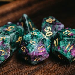 URWizards Dnd Ruby in Zoisite Engraved Dice Set Wizard lightning Style - Urwizards