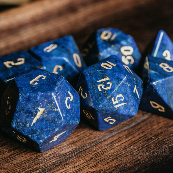 URWizards Dnd Lapis Lazuli Engraved Dice Set Wizard lightning Style - Urwizards