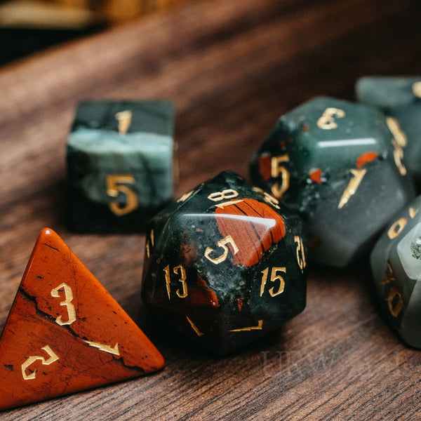 URWizards Dnd Bloodstone Engraved Dice Set Wizard lightning Style - Urwizards