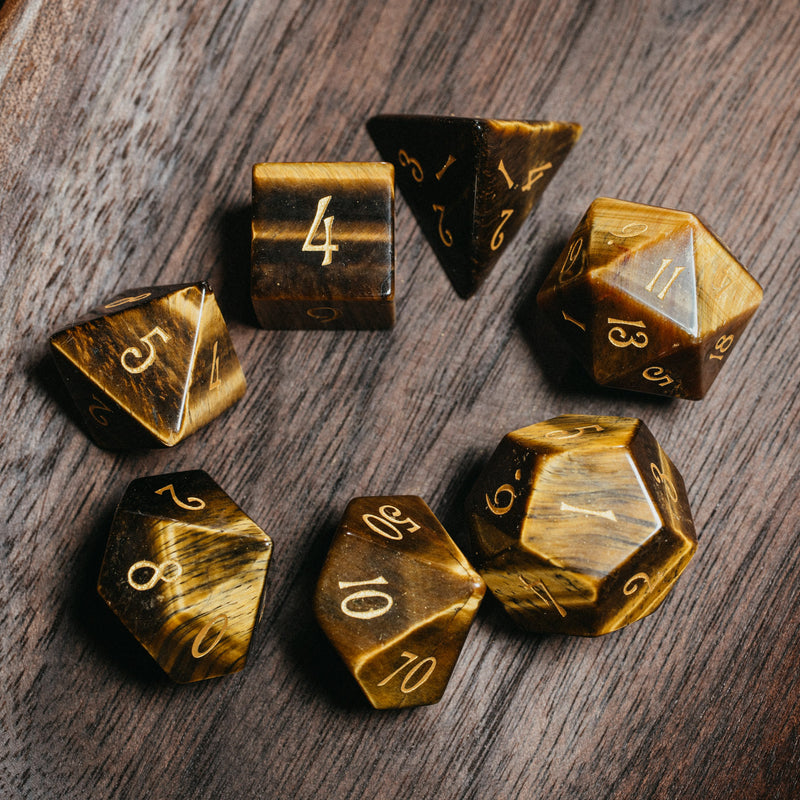 URWizards Dnd Tiger's Eye Gemstone Engraved Dice Set - Urwizards