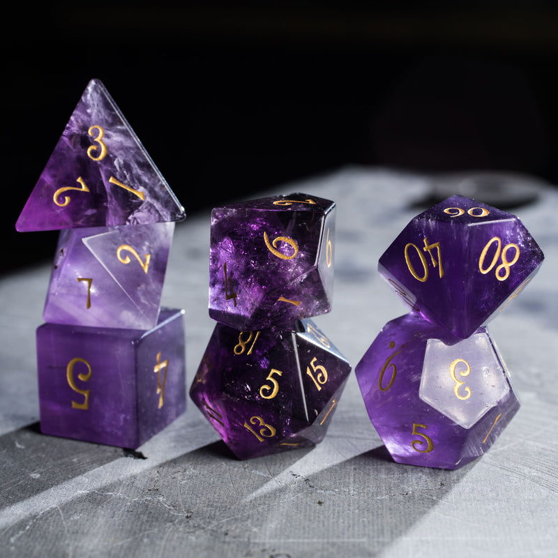 URWizards Dnd Amethyst Gemstone Engraved Dice Set - Urwizards