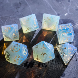 URWizards Dnd Opalite Gemstone Engraved Dice Set Dagger Rogue Style - Urwizards