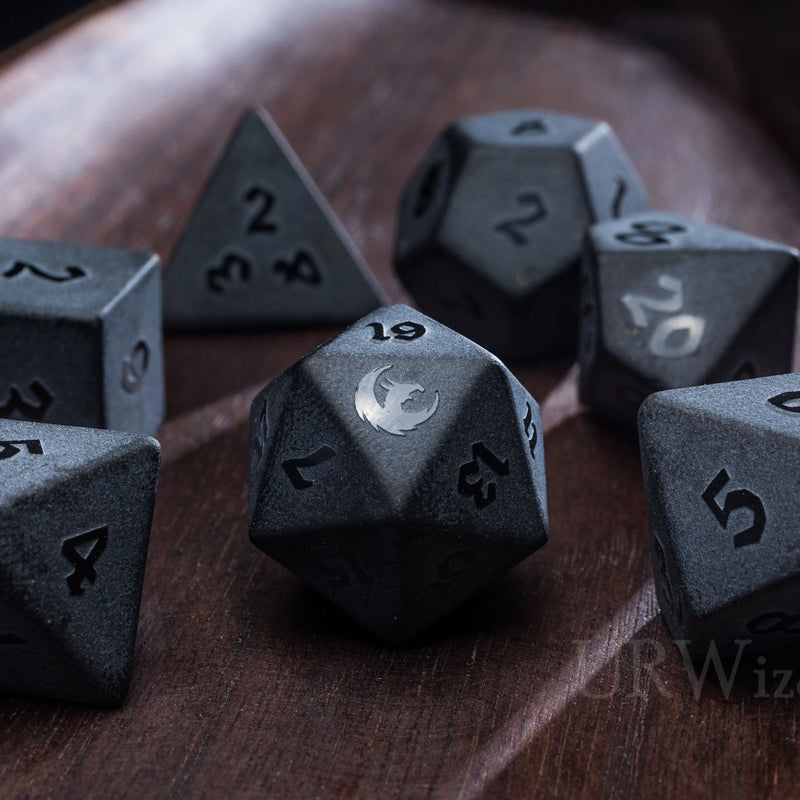 URWizards Dnd Obsidian Gemstone Raised Dice Set Dragon Style - Urwizards