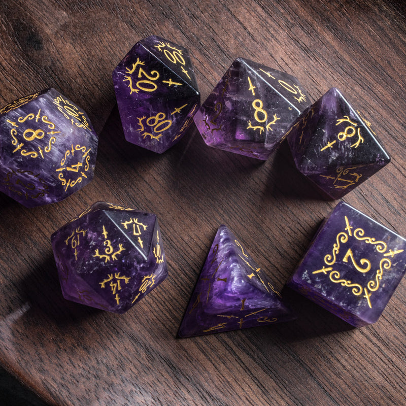 URWizards Dnd Amethyst Gemstone Engraved Dice Set Dagger Rogue Style - Urwizards