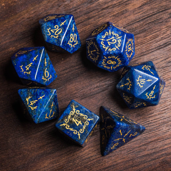 URWizards Dnd Lapis Lazuli Gemstone Engraved Dice Set Dagger Rogue Style - Urwizards