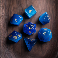 URWizards Dnd Blue Cat's Eye Engraved Dice Set Moon Style - Urwizards