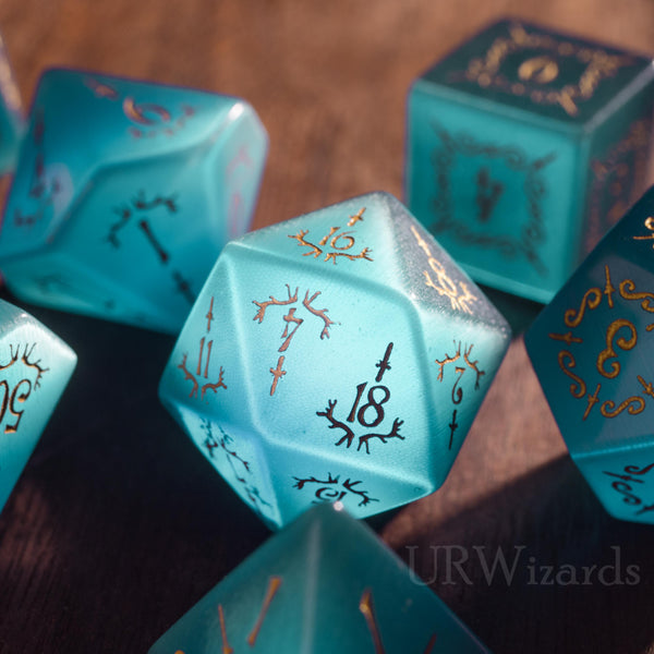 URWizards Dnd Aquamarin Cat's Eye Gemstone Engraved Dice Set Dagger Rogue Style - Urwizards