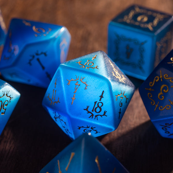 URWizards Dnd Blue Cat's Eye Gemstone Engraved Dice Set Dagger Rogue Style - Urwizards