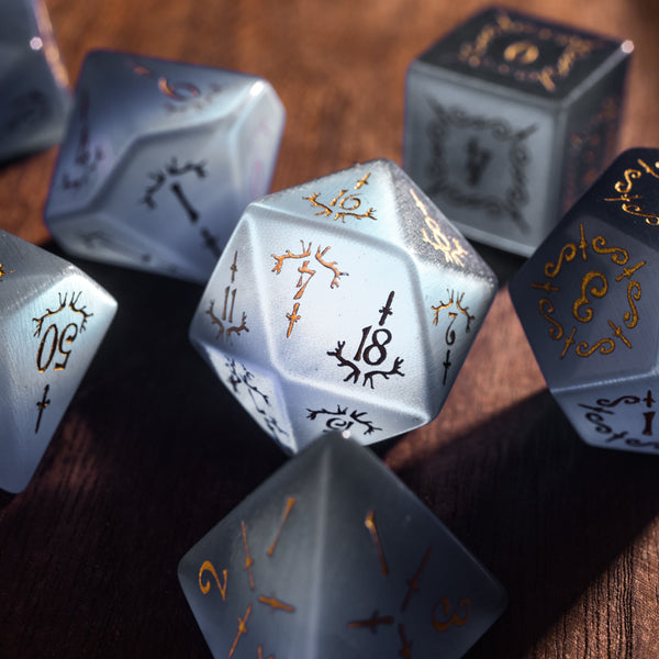URWizards Dnd Grey Cat's Eye Gemstone Engraved Dice Set Dagger Rogue Style - Urwizards
