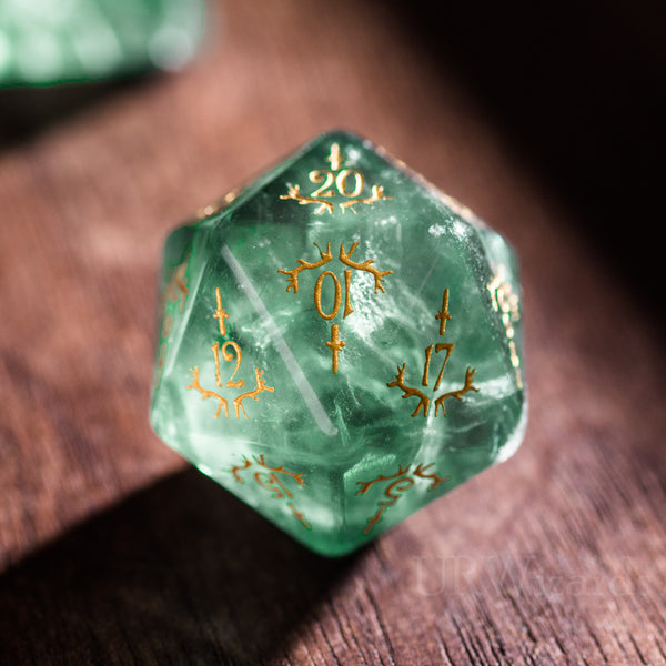 URWizards Dnd Green Fluorite Gemstone Engraved Dice Set Dagger Rogue Style - Urwizards