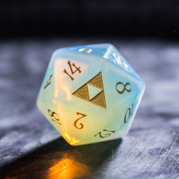 URWizards Dnd Opalite Engraved Dice Set Zelda Triforce Triangle - Urwizards