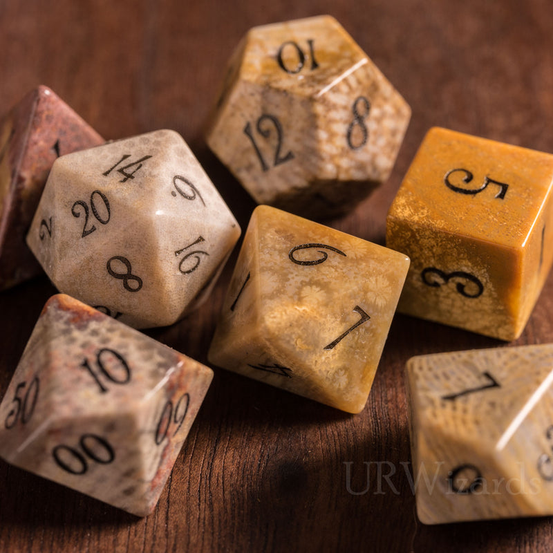 URWizards Dnd Coral Fossil Gemstone Engraved Dice Set - Urwizards