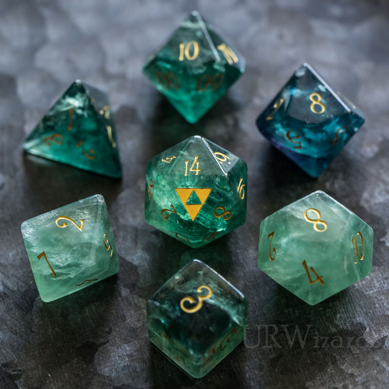 URWizards Dnd Green Fluorite Engraved Dice Set Zelda Triforce Triangle - Urwizards