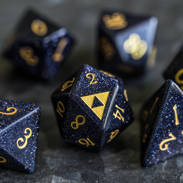 URWizards Dnd Blue Sandstone Engraved Dice Set Zelda Triforce Triangle - Urwizards