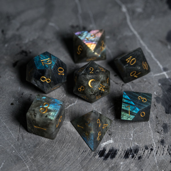 URWizards Dnd Labradorite Gemstone Engraved Dice Set  Moon Style - Urwizards