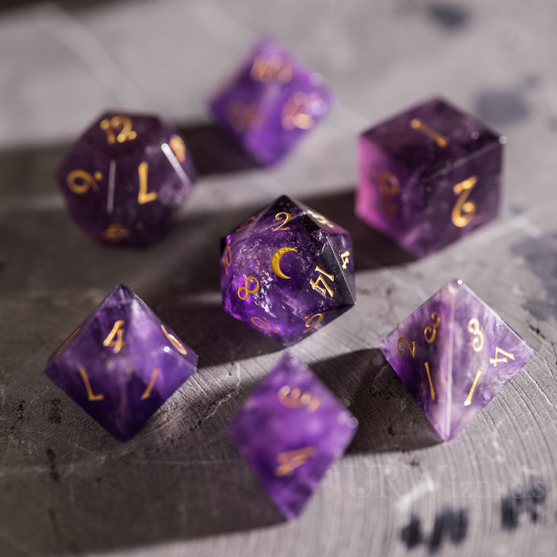 URWizards Dnd Amethyst Engraved Dice Set Moon Style - Urwizards