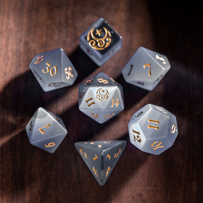 URWizards Dnd Grey Cat's Eye Engraved Dice Set Moon Star Style - Urwizards