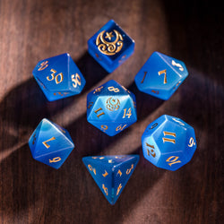 URWizards Dnd Blue Cat's Eye Engraved Dice Set Moon Star Style - Urwizards