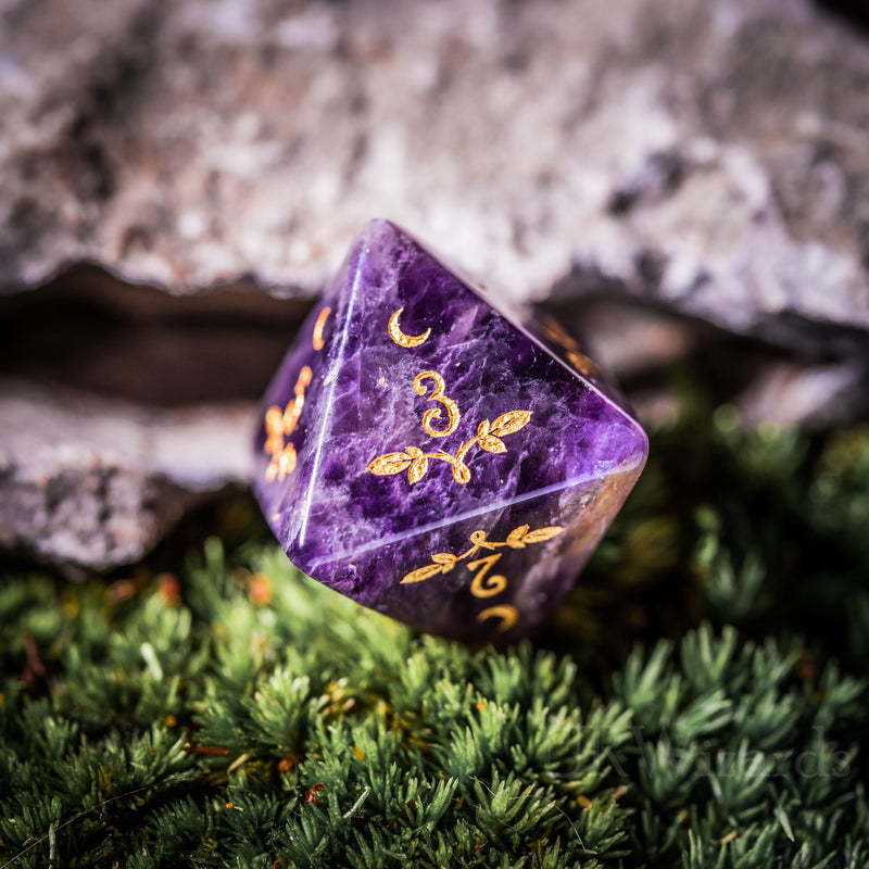 URWizards Dnd Amethyst Gemstone Engraved Dice Set Plant Vine Style - Urwizards