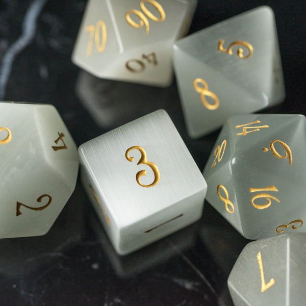 URWizards Dnd White Cat's Eye Gemstone Engraved Dice Set - Urwizards