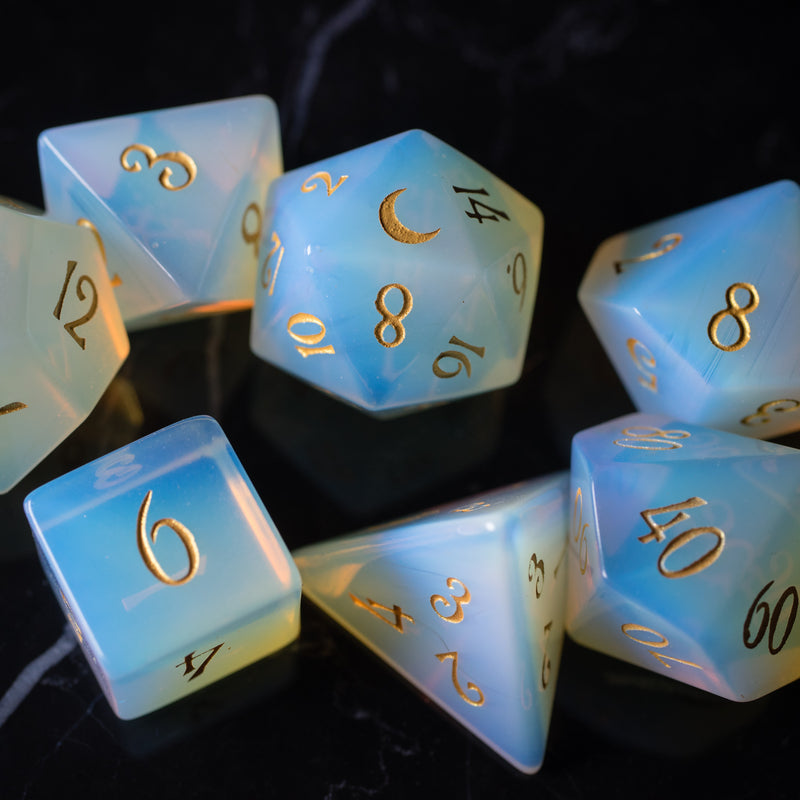 URWizards Dnd Opalite Gemstone Engraved Dice Set Moon Style - Urwizards