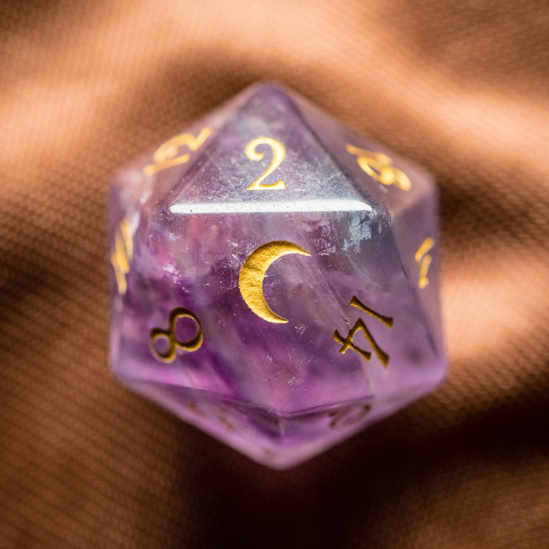 URWizards Dnd Purple Fluorite Gemstone Engraved Dice Set Moon Style - Urwizards