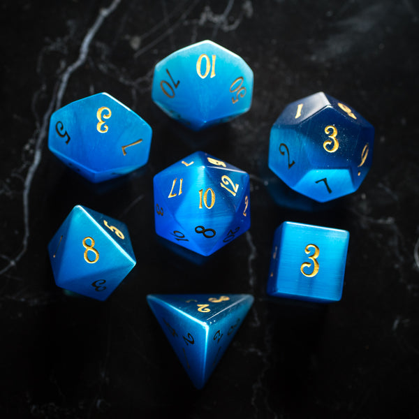 URWizards Dnd Blue Cat's Eye Gemstone Engraved Dice Set - Urwizards