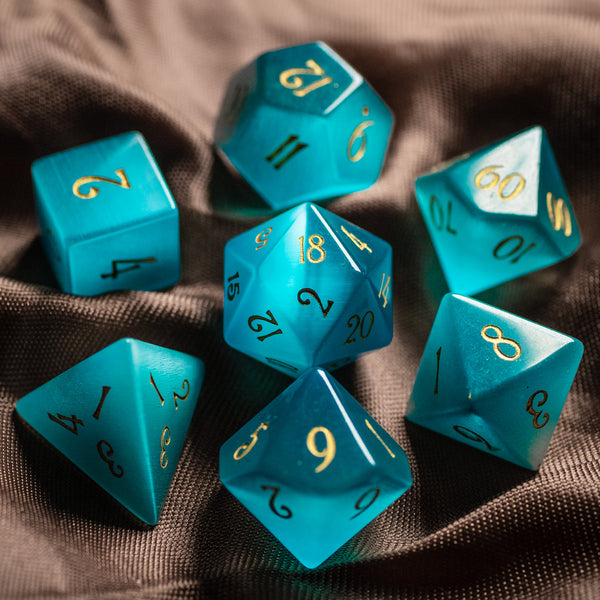 URWizards Dnd Aquamarine Cat's Eye Gemstone Engraved Dice Set - Urwizards
