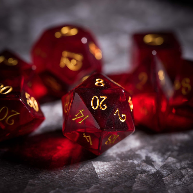 URWizards Dnd Garnet Glass Engraved Dice Set - Urwizards