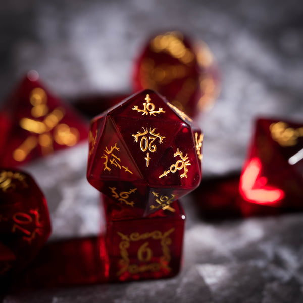 URWizards Dnd Garnet Zircon Engraved Dice Set Dagger Rogue Style - Urwizards