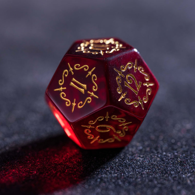 URWizards Dnd Garnet Glass Engraved Dice Set Dagger Rogue Style - Urwizards