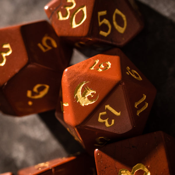 URWizards Dnd Red Stone Gemstone Engraved Dice Set Dragon Style - Urwizards