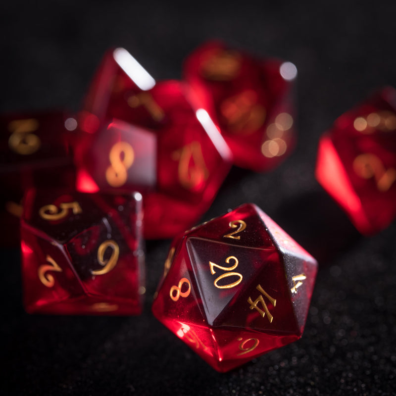 URWizards Dnd Garnet Zircon Gemstone Engraved Dice Set - Urwizards
