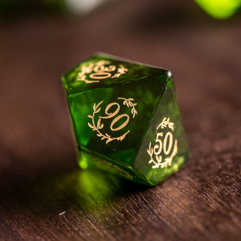 URWizards Dnd Peridot Zircon Glass Engraved Dice Set Plant Vine Style - Urwizards